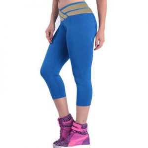 Wide Elastic Waist Stylish Blue Yoga Capri Manufacturer