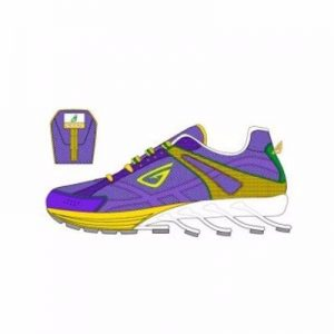 Yellow and Purple Designer Running Fitness Shoes Distributor