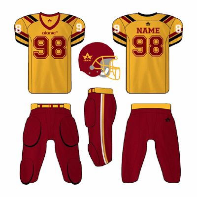 Yellow and Red American Football Apparel Supplier